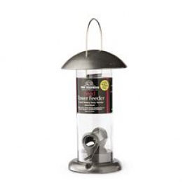 Seed Tower Feeder - Silver & Black 2 Port